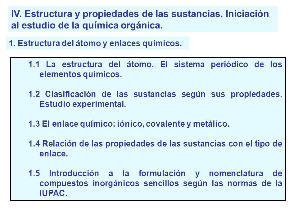 IV. Estructura y propiedades de las sustancias