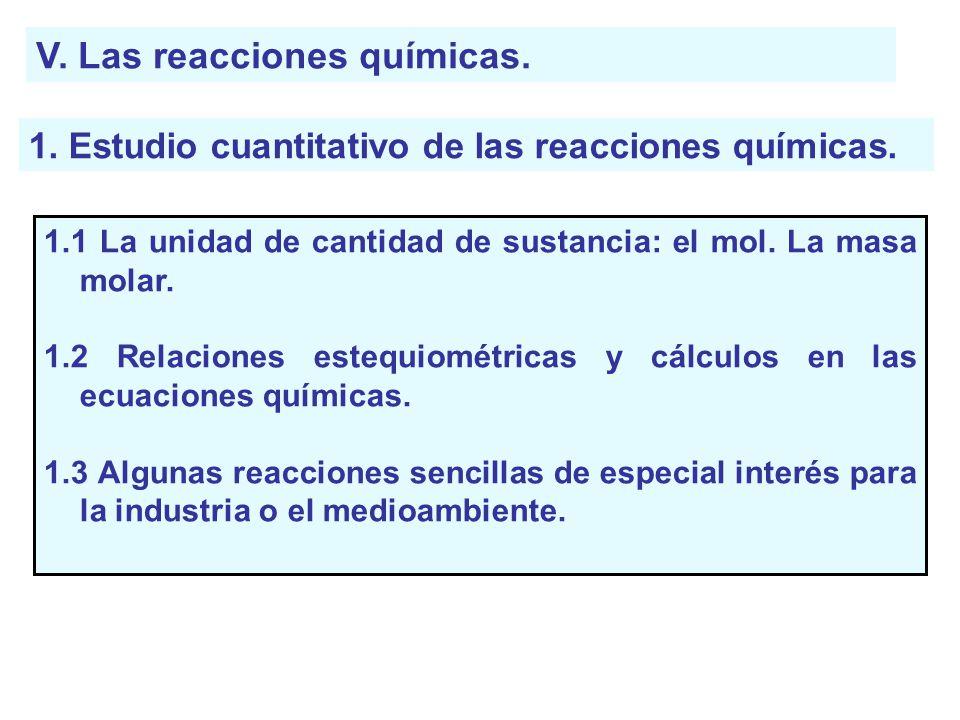 V. Las reacciones químicas.