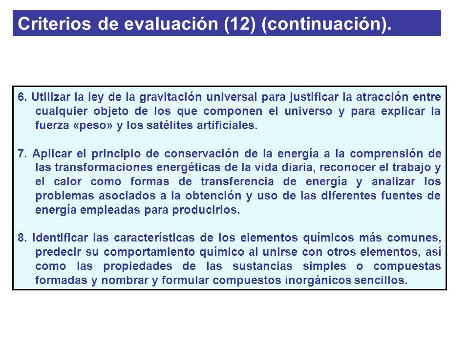 Criterios de evaluación (12) (continuación).