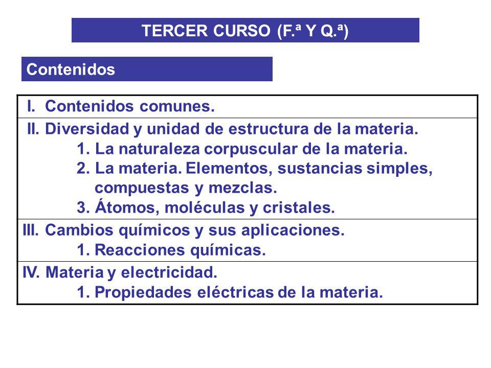 TERCER CURSO (F.ª Y Q.ª) Contenidos. I. Contenidos comunes. II. Diversidad y unidad de estructura de la materia.