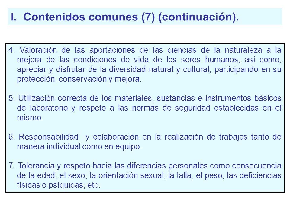 I. Contenidos comunes (7) (continuación).