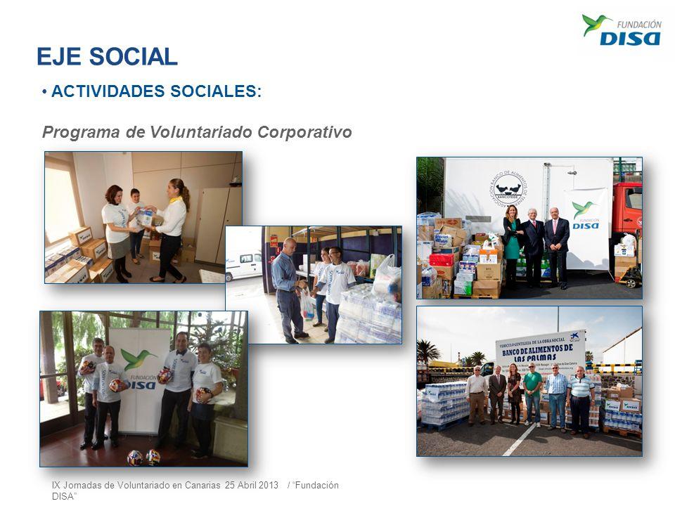 EJE SOCIAL ACTIVIDADES SOCIALES: Programa de Voluntariado Corporativo
