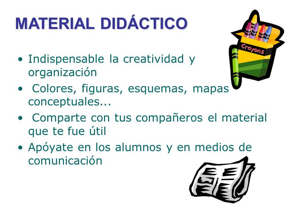 MATERIAL DIDÁCTICO Indispensable la creatividad y organización