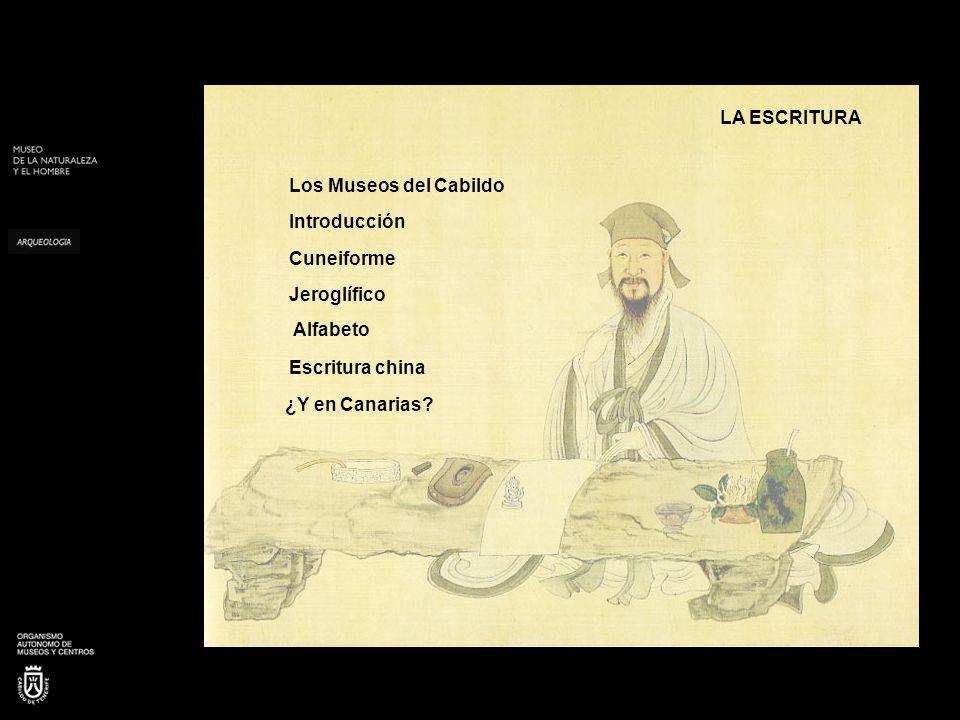 LA ESCRITURA Los Museos del Cabildo. Introducción. Cuneiforme. Jeroglífico. Alfabeto. Escritura china.