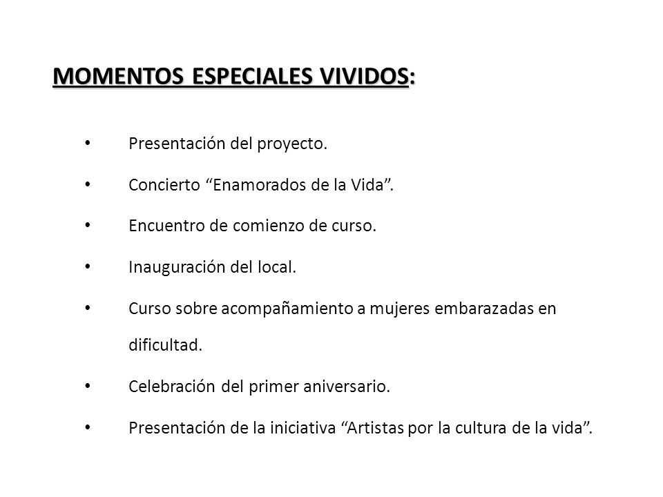 MOMENTOS ESPECIALES VIVIDOS:
