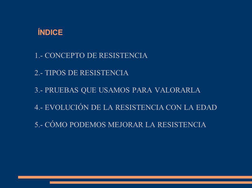 ÍNDICE 1.- CONCEPTO DE RESISTENCIA. 2.- TIPOS DE RESISTENCIA. 3.- PRUEBAS QUE USAMOS PARA VALORARLA.