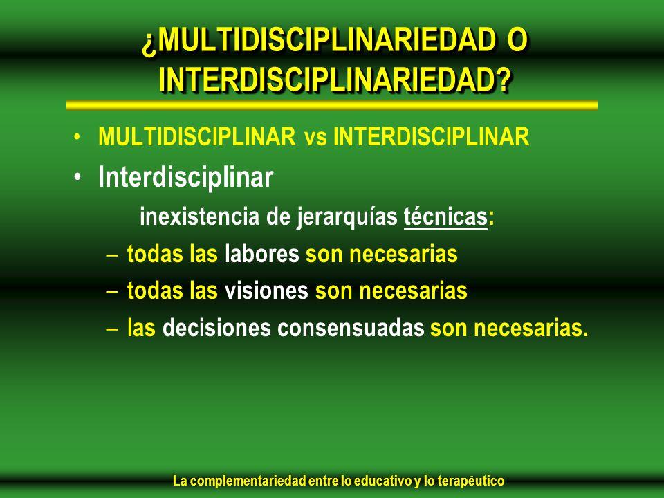 ¿MULTIDISCIPLINARIEDAD O INTERDISCIPLINARIEDAD