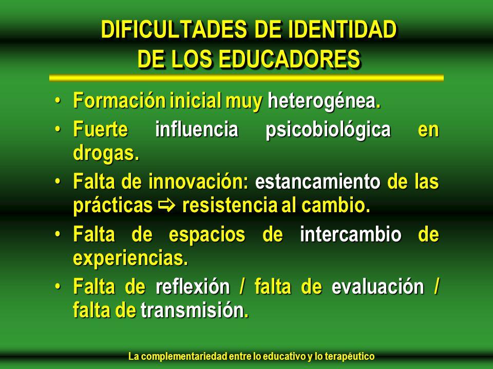 DIFICULTADES DE IDENTIDAD DE LOS EDUCADORES