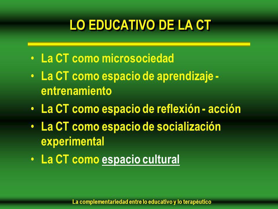 LO EDUCATIVO DE LA CT La CT como microsociedad