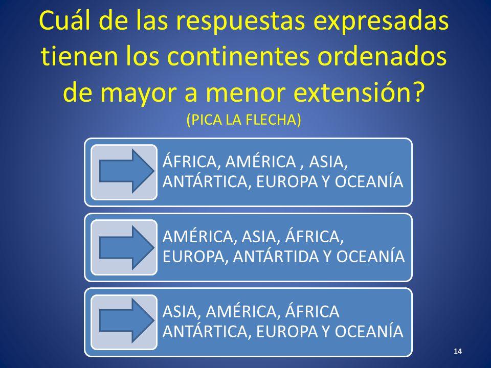 Cuál de las respuestas expresadas tienen los continentes ordenados de mayor a menor extensión (PICA LA FLECHA)