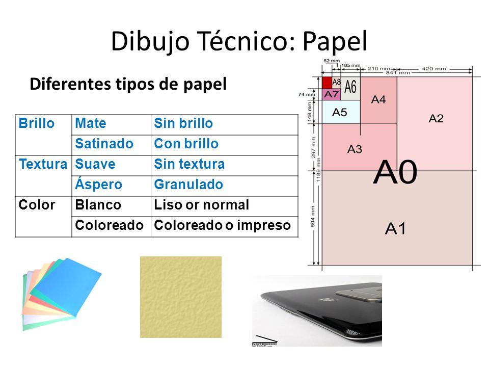 Dibujo Técnico: Papel Diferentes tipos de papel Brillo Mate Sin brillo