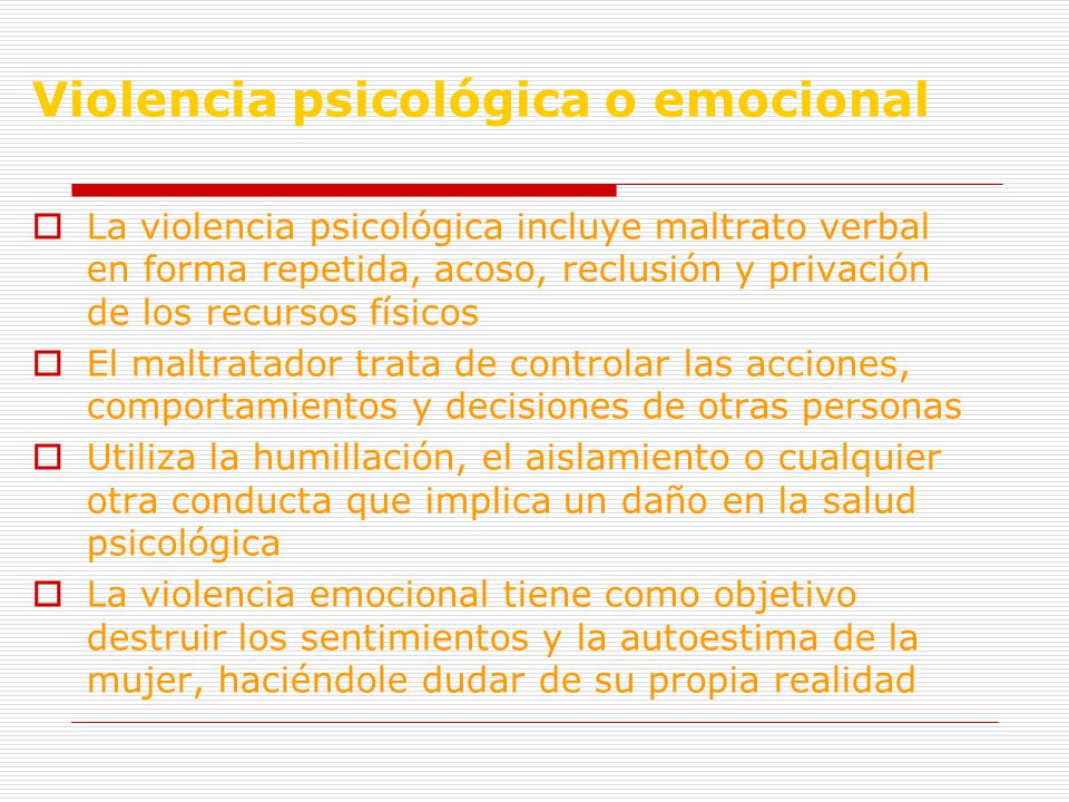Violencia psicológica o emocional
