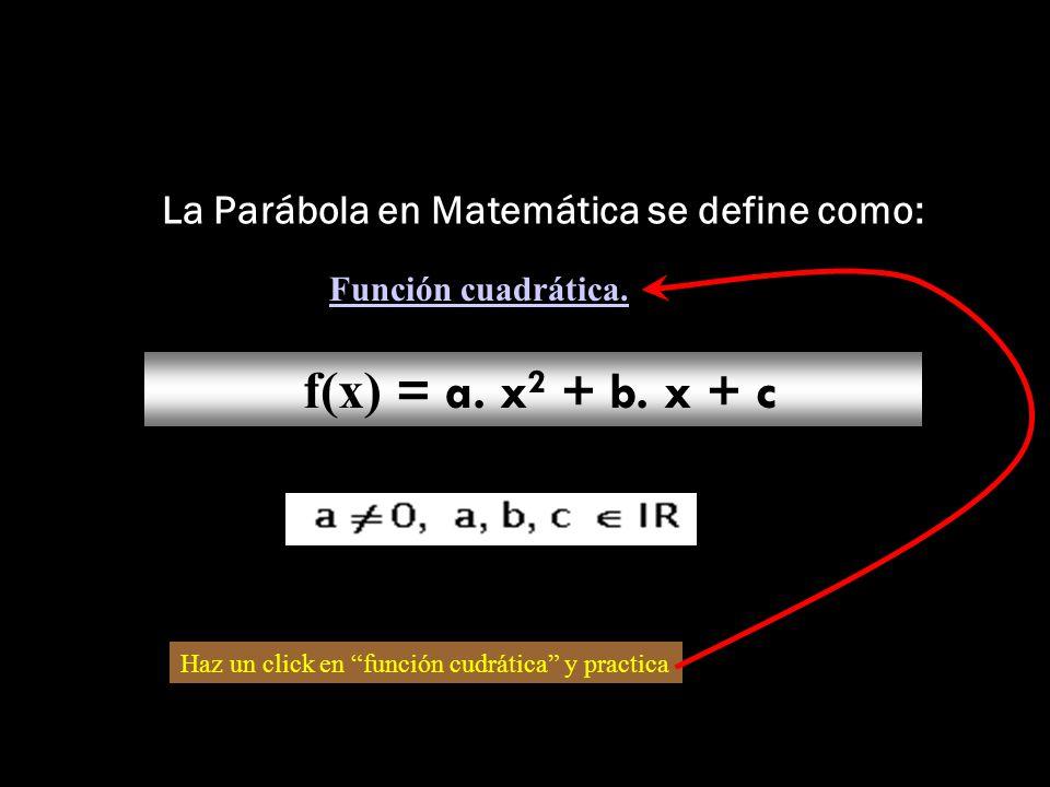 La Parábola en Matemática se define como: