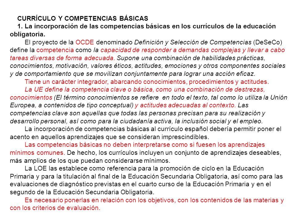 CURRÍCULO Y COMPETENCIAS BÁSICAS