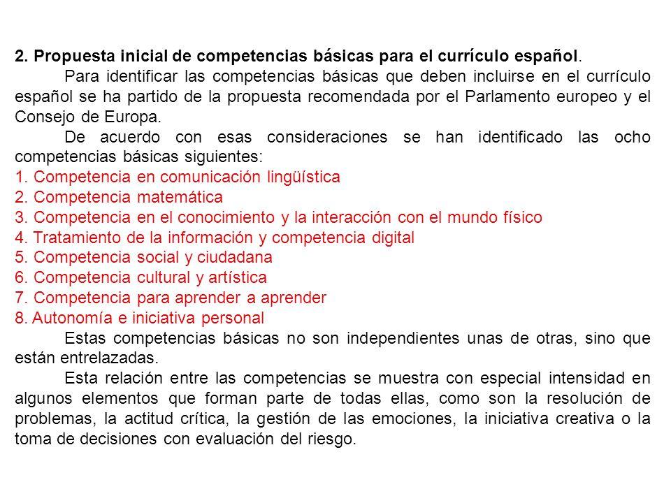 2. Propuesta inicial de competencias básicas para el currículo español.
