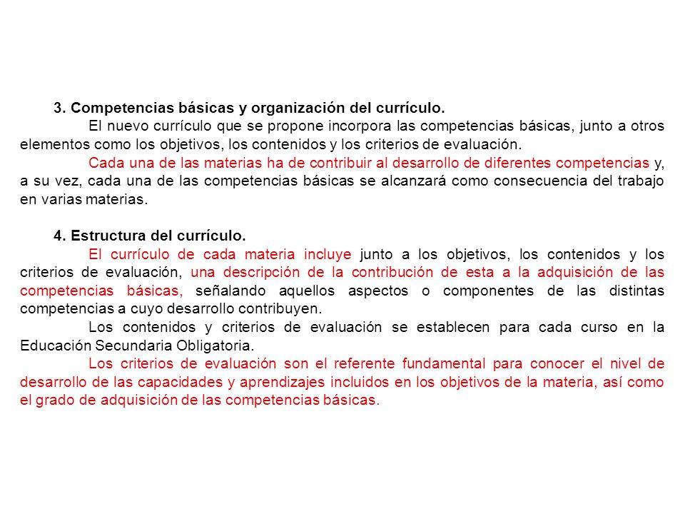 3. Competencias básicas y organización del currículo.