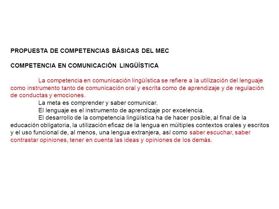 PROPUESTA DE COMPETENCIAS BÁSICAS DEL MEC