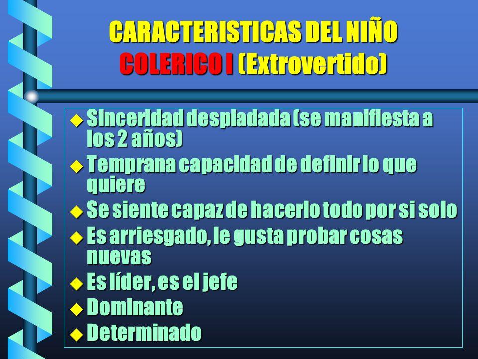 CARACTERISTICAS DEL NIÑO COLERICO I (Extrovertido)