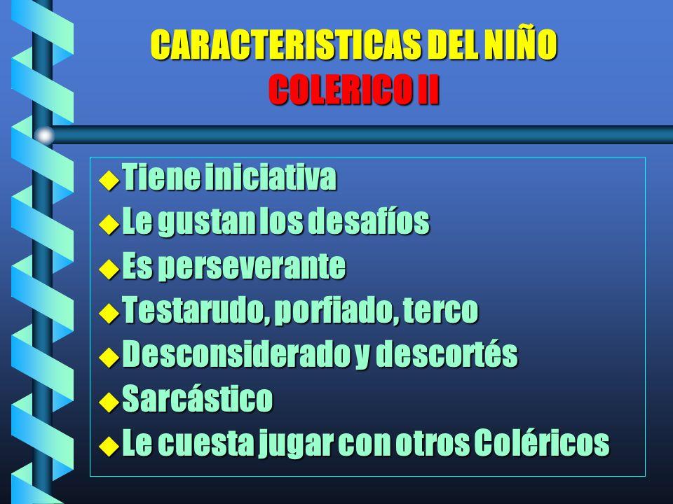 CARACTERISTICAS DEL NIÑO COLERICO II