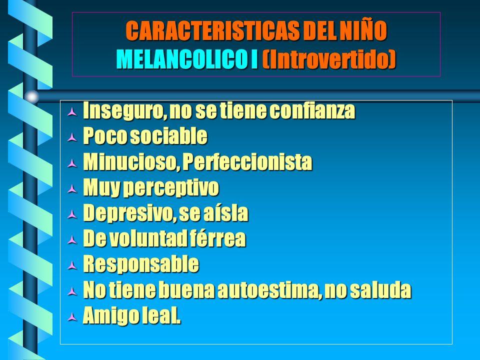 CARACTERISTICAS DEL NIÑO MELANCOLICO I (Introvertido)