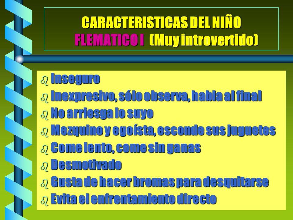 CARACTERISTICAS DEL NIÑO FLEMATICO I (Muy introvertido)