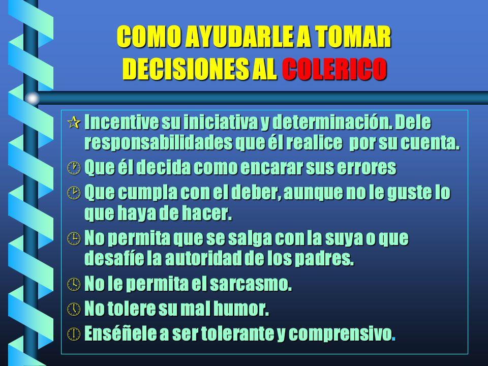 COMO AYUDARLE A TOMAR DECISIONES AL COLERICO