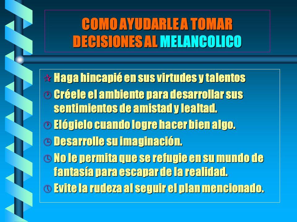 COMO AYUDARLE A TOMAR DECISIONES AL MELANCOLICO