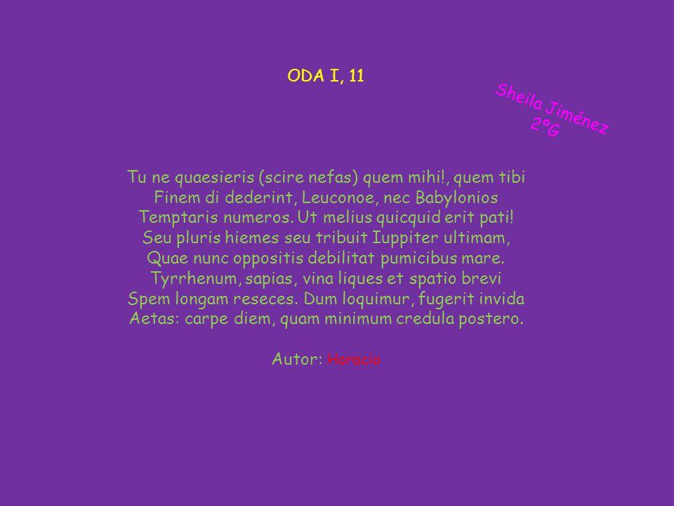 ODA I, 11 Tu ne quaesieris (scire nefas) quem mihi