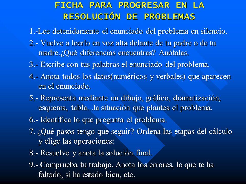 FICHA PARA PROGRESAR EN LA RESOLUCIÓN DE PROBLEMAS