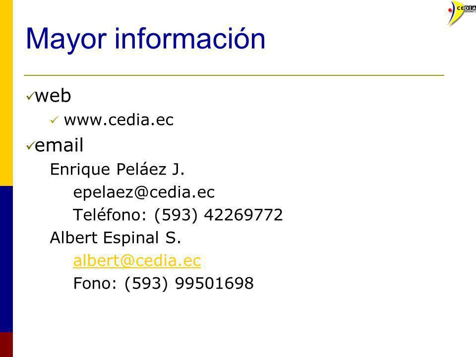 Mayor información web email www.cedia.ec Enrique Peláez J.