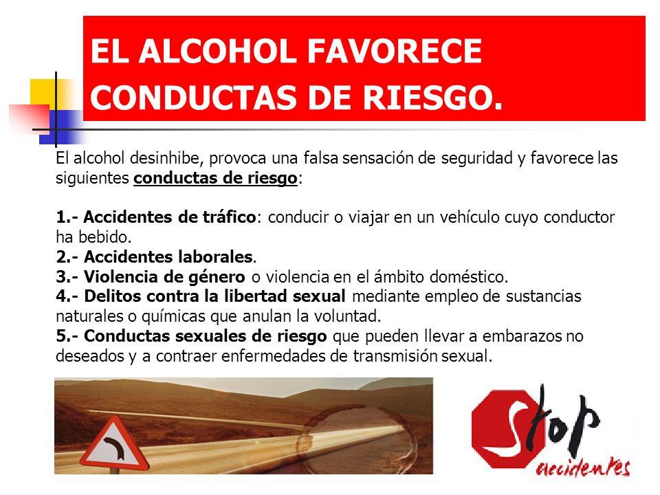 EL ALCOHOL FAVORECE CONDUCTAS DE RIESGO.