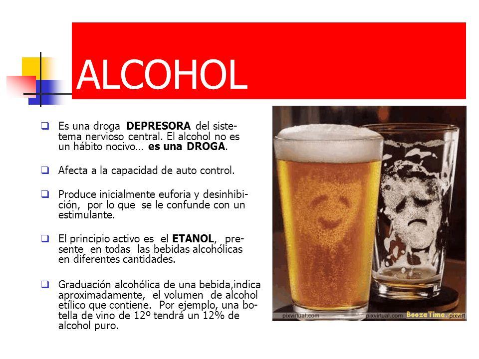 ALCOHOL Es una droga DEPRESORA del siste-tema nervioso central. El alcohol no es un hábito nocivo… es una DROGA.
