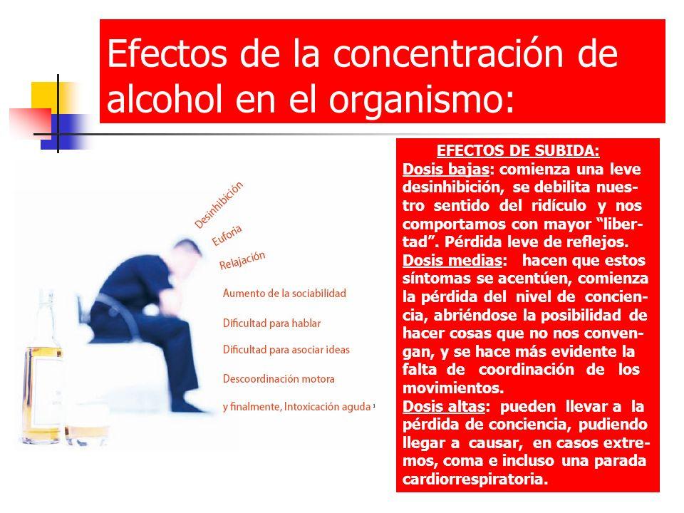 Efectos de la concentración de alcohol en el organismo: