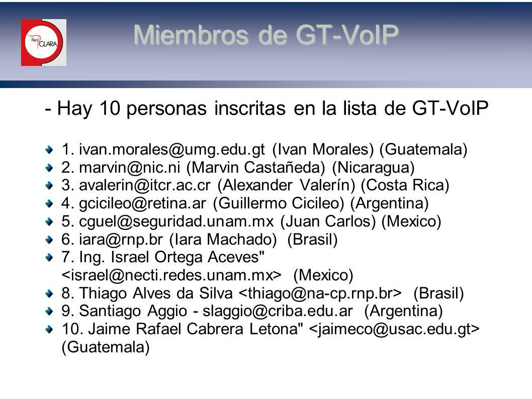 Miembros de GT-VoIP - Hay 10 personas inscritas en la lista de GT-VoIP