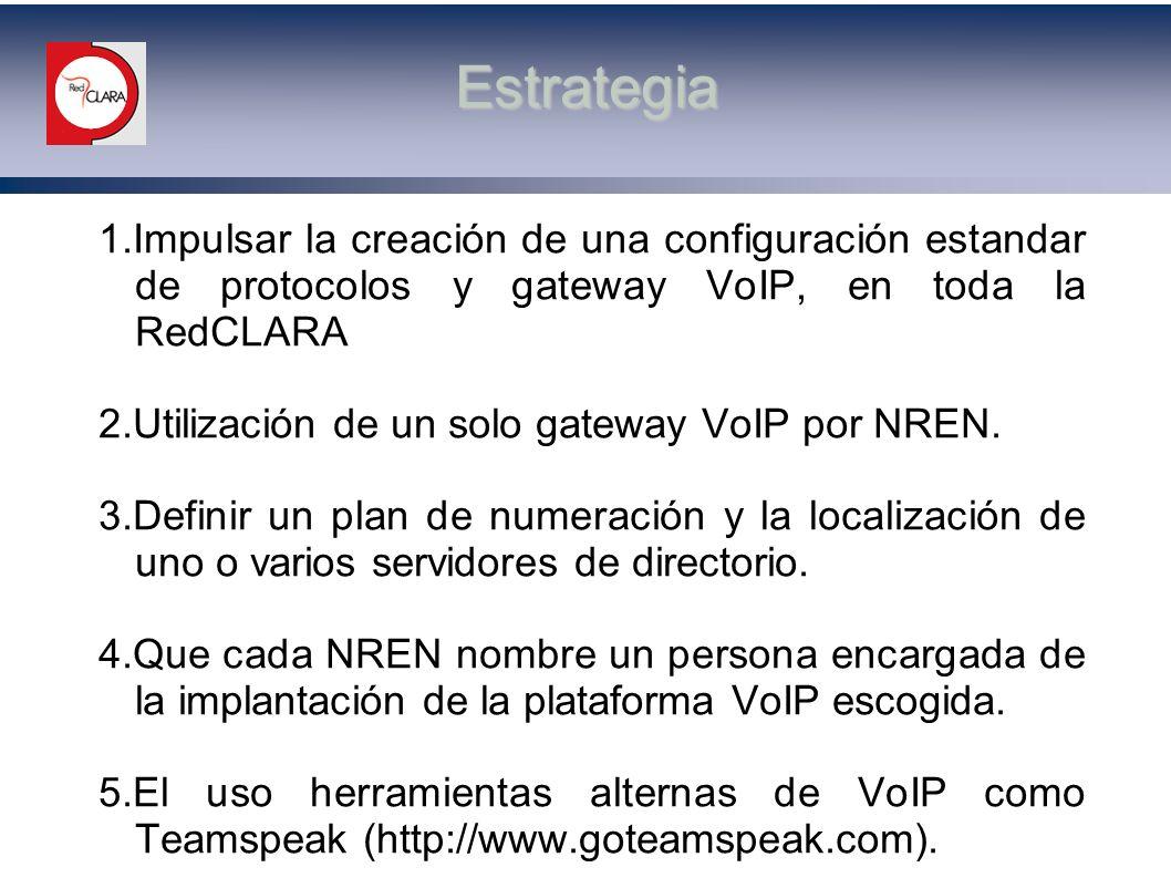 Estrategia 1.Impulsar la creación de una configuración estandar de protocolos y gateway VoIP, en toda la RedCLARA.