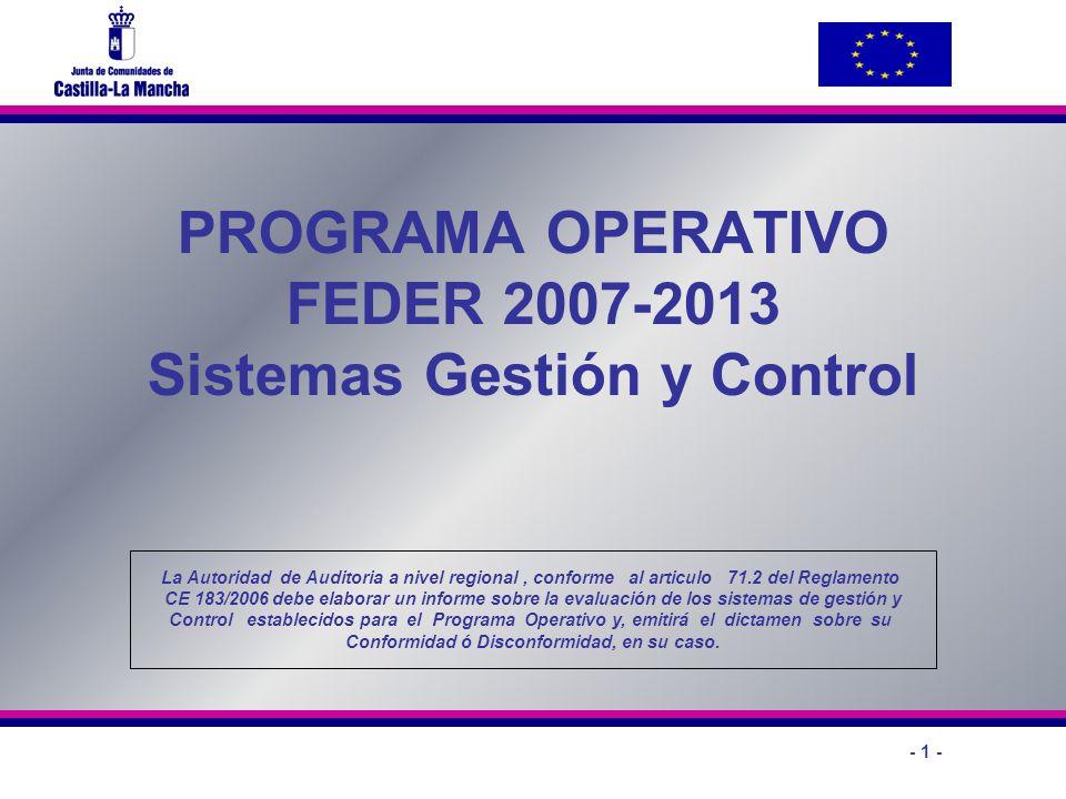 PROGRAMA OPERATIVO FEDER 2007-2013 Sistemas Gestión y Control