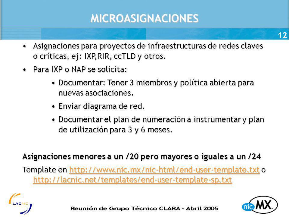MICROASIGNACIONES Asignaciones para proyectos de infraestructuras de redes claves o críticas, ej: IXP,RIR, ccTLD y otros.