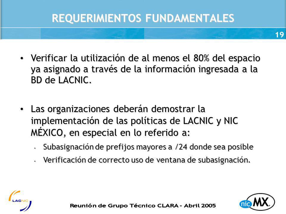 REQUERIMIENTOS FUNDAMENTALES