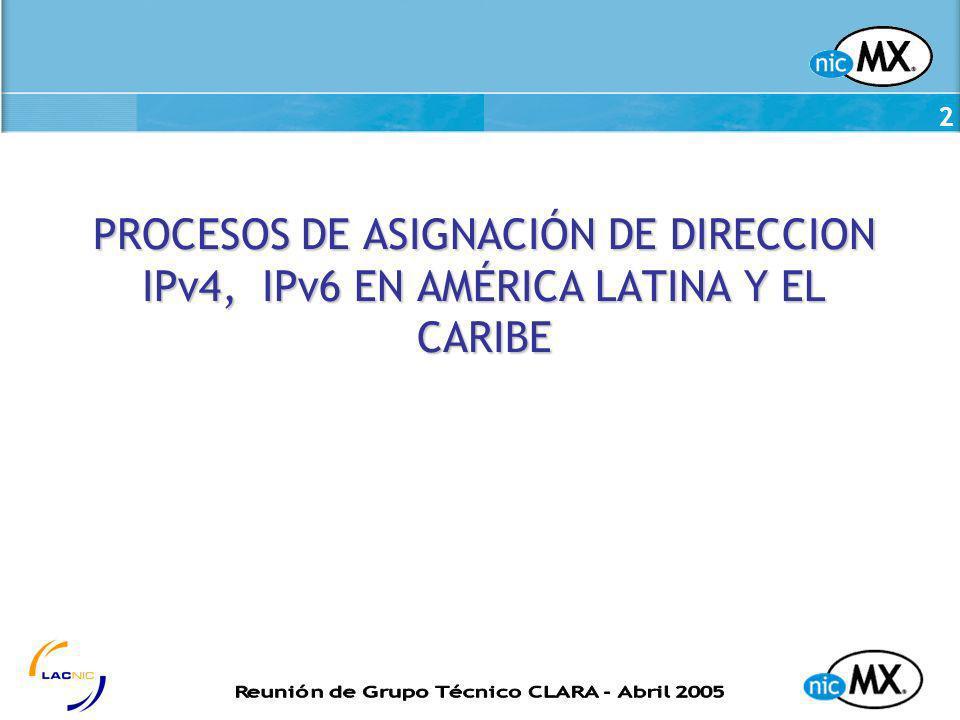 PROCESOS DE ASIGNACIÓN DE DIRECCION IPv4, IPv6 EN AMÉRICA LATINA Y EL CARIBE