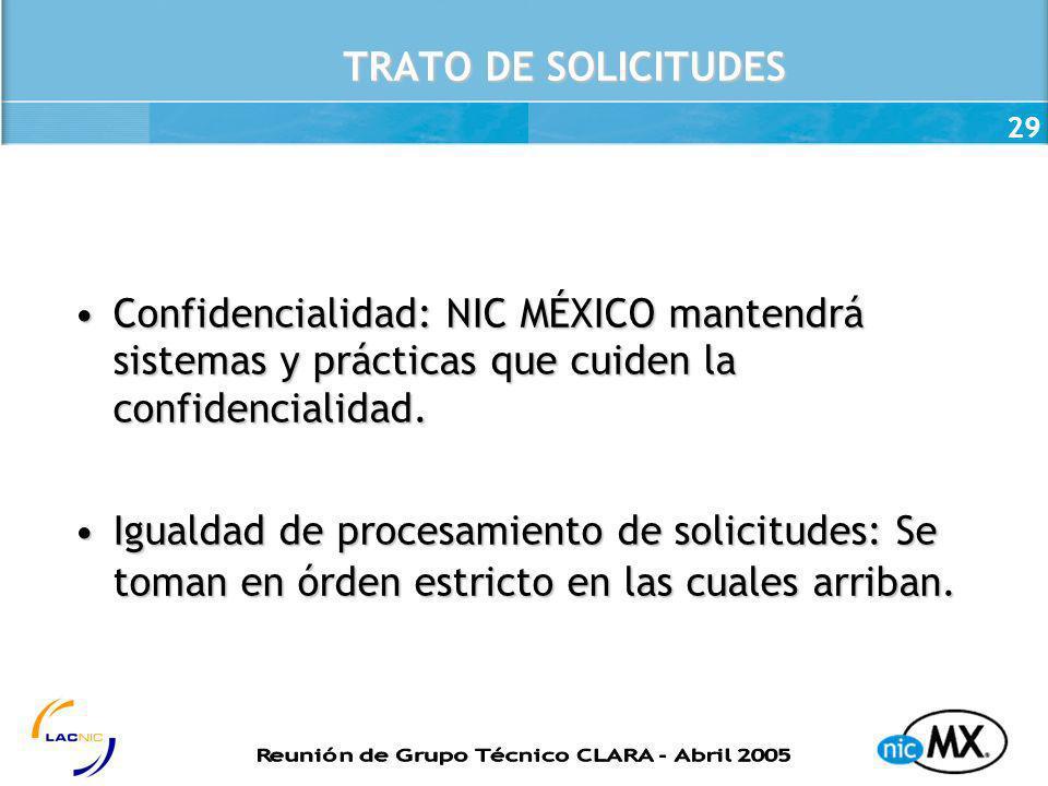 TRATO DE SOLICITUDES Confidencialidad: NIC MÉXICO mantendrá sistemas y prácticas que cuiden la confidencialidad.
