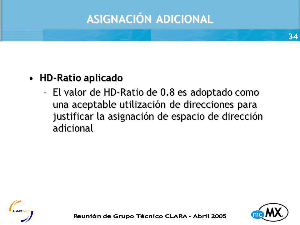 ASIGNACIÓN ADICIONAL HD-Ratio aplicado