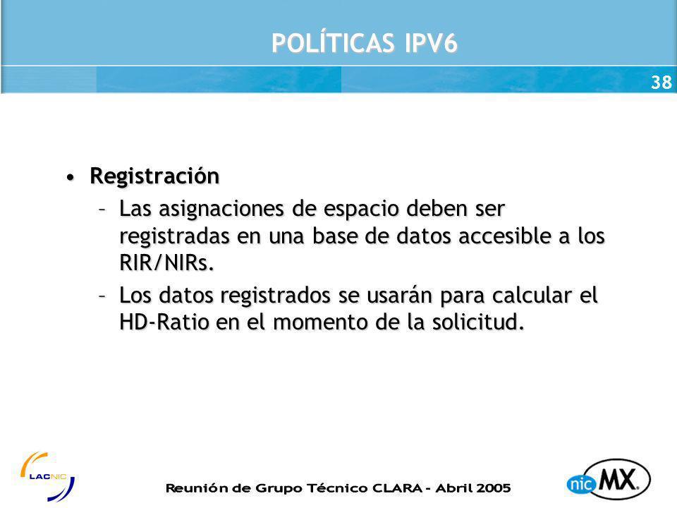 POLÍTICAS IPV6 Registración