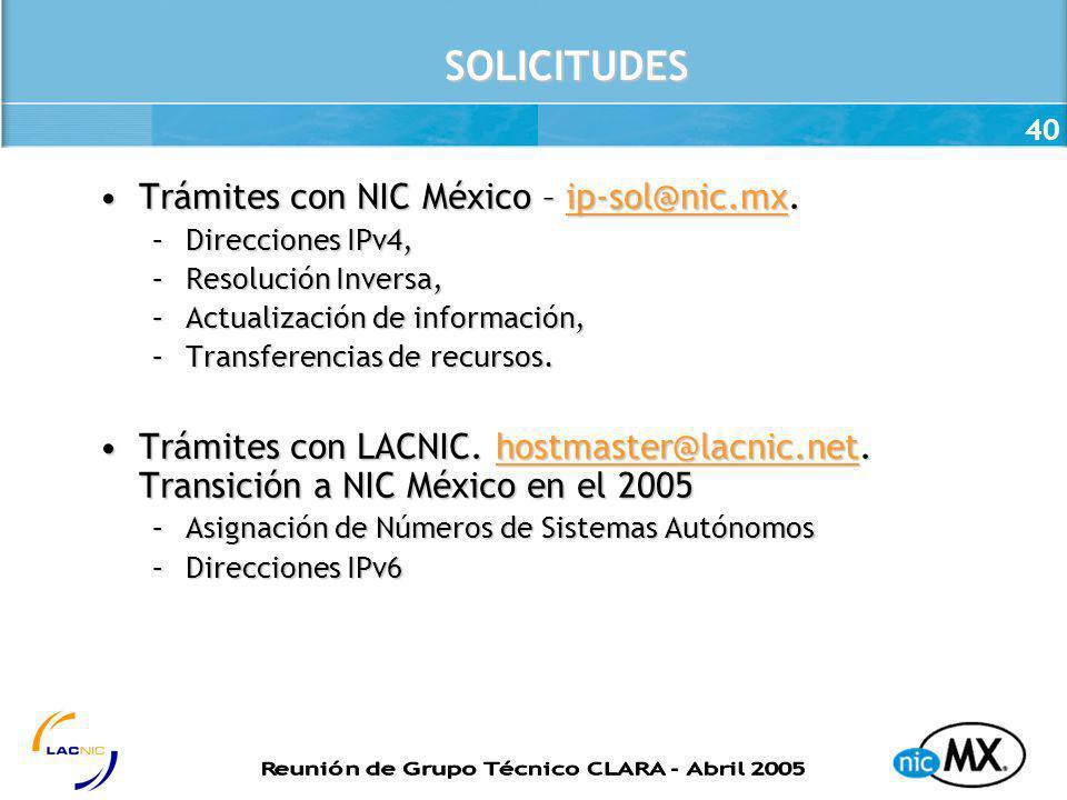 SOLICITUDES Trámites con NIC México – ip-sol@nic.mx.