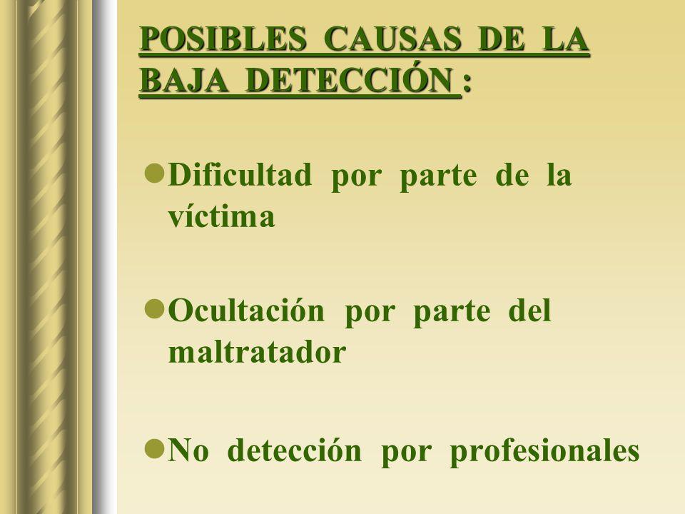 POSIBLES CAUSAS DE LA BAJA DETECCIÓN :