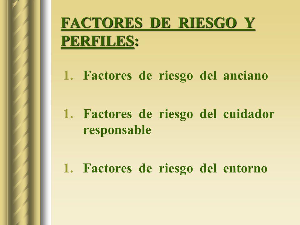 FACTORES DE RIESGO Y PERFILES: