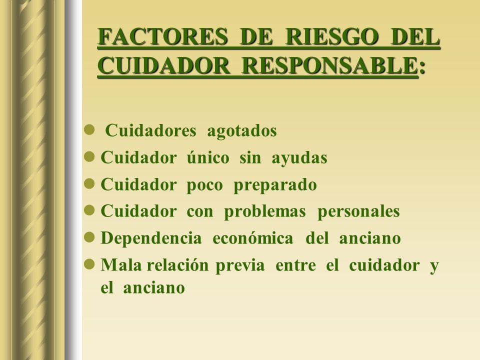 FACTORES DE RIESGO DEL CUIDADOR RESPONSABLE: