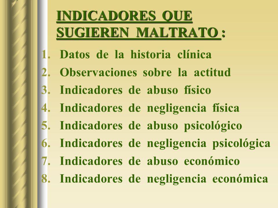 INDICADORES QUE SUGIEREN MALTRATO :