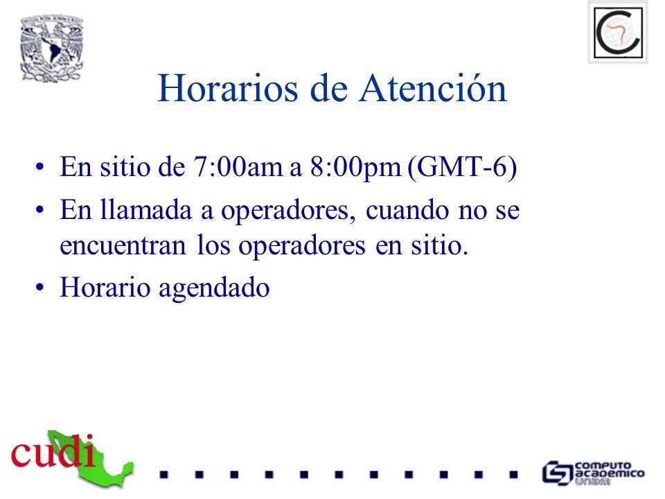 Horarios de Atención En sitio de 7:00am a 8:00pm (GMT-6)