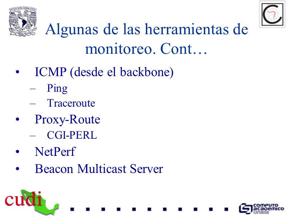 Algunas de las herramientas de monitoreo. Cont…