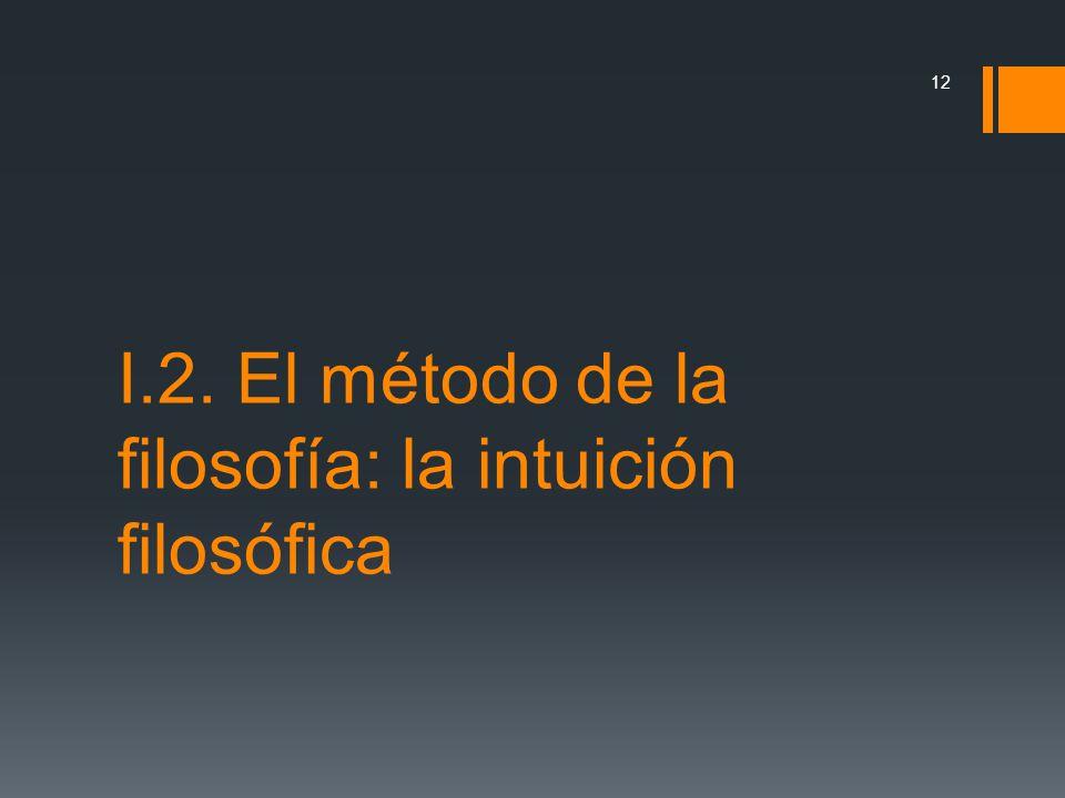 I.2. El método de la filosofía: la intuición filosófica